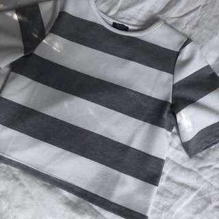 YACHT 21 STRIPE CROP TEE
