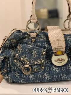 Guess denim shoulder handbag