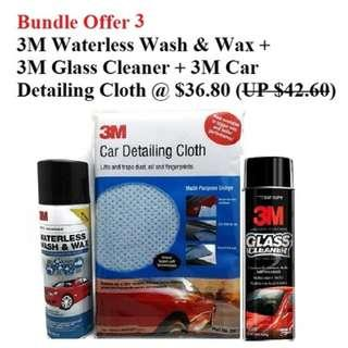 A) 3M Waterless Wash & Wax 16oz ($14.80) B) 3M Glass Cleaner 19oz ($15.80) C) 3M Car Detailing Cloth 585mm x 385mm ($12)