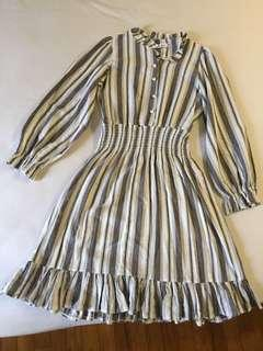 Grey Stripped Button Front Dress