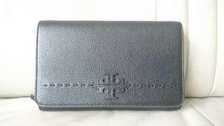 TORY BURCH 黑色荔枝紋牛皮三用包(手拿包、肩背包、側背包)