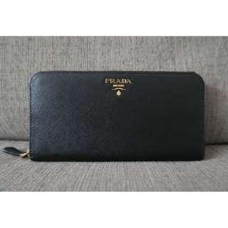 Authentic Prada Saffiano Metal Leather 1ML506 Zip Continental Wallet Black