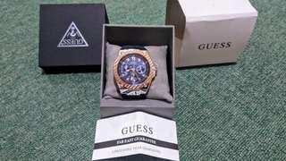 Jam tangan pria guess rose gold canvas denim original