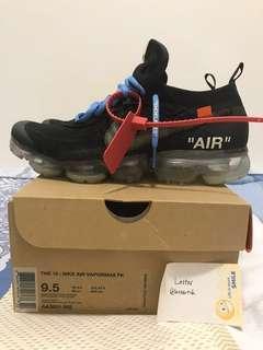 US9.5 Off White Nike Vapormax Black 2.0