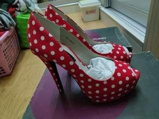 Red polka dot high heels