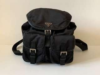 Authentic Prada Nero Vela Leather Trimming Backpack