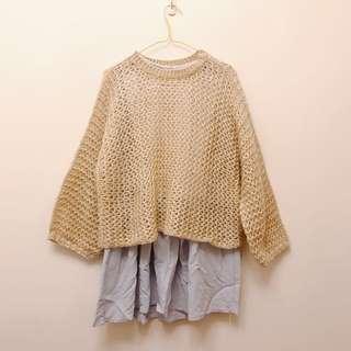 🚚 甜美日系 洋裝+外罩毛衣