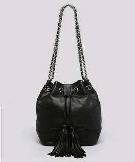 Rebecca Minkoff Shoulder Bag專櫃款黑皮革束口水桶側/斜背包