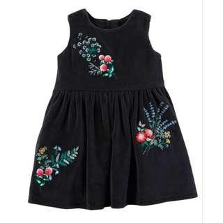 🚚 Carters Girl Black Dress Floral