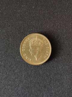 (原光, UNC )1950年香港一毫男頭硬幣