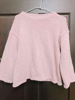 粉色針織捲邊上衣