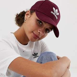 Adidas Originals trefoil cap in burgundy BNWT