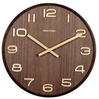 GEEKCOOK WALNUT WALL CLOCK WITH NUMBERS