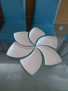 全新白色時尚組合陶瓷風車碟一套6隻 (另有彩色)