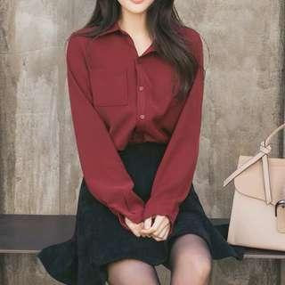 Wine red blouse