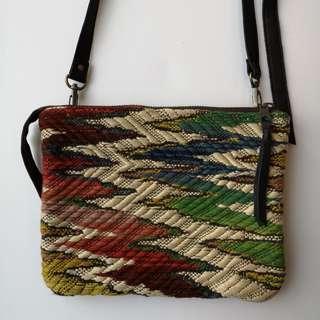 Hand Made unique Antique Vintage carpet leather crossbody bag