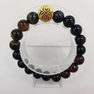 🚚 999 Pure Gold 'Luck' Tattoo Charm with Red & Yellow Tiger Eye and Onyx Beads Bracelet