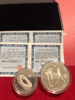 1988 Korea Olympic 10000 won n 5000 won silver coin