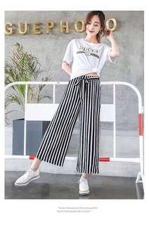 🚚 歐美風 顯瘦熱門款高品質中性新款雪紡條紋綁帶闊腿褲寬褲 「預購❗️