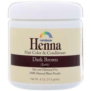 IN STOCK Rainbow Research, Henna, Hair Color & Conditioner, Dark Brown (Sable), 4 oz (113 g)