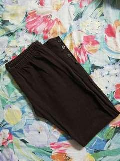 3/4 Brown Leggings with Side Button