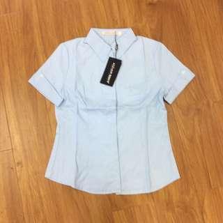 淺藍短袖OL襯衫