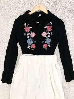 REPRICED!!!! H&M embroidered semi-croptop Button-down longsleeve
