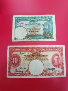 Straits settlements 1941 $10 and 1940 25c Banknotes
