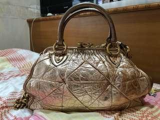 Marc Jacobs Metallic Calfskin Patchwork Stam Bag in Rose Gold