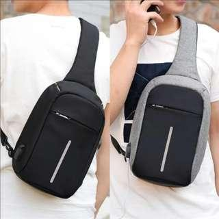 🚚 [With Freebie] Plain Anti Theft Sling Chest Zip Bag For Men