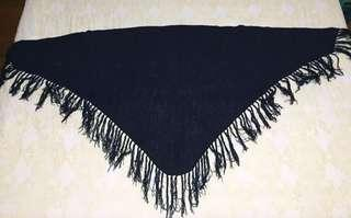 Knitted Shawl with Fringe (Navy Blue)