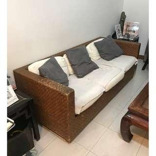 Rattan Wood Sofa and Armchair