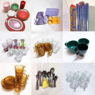 Assorted Kitchenware- glass cups, spoon fork chopstick plate and bowls (moving house sale)