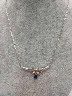 18K White Gold Sapphire with Diamonds Necklace