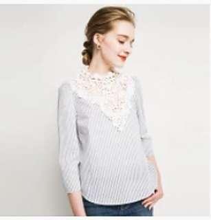 日單正品重工刺繡色織條紋七分袖棉質衫