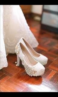 White wedding heels - beaded Phoenix