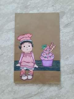 Handmade Paper Gift Bag-Cupcake Girl