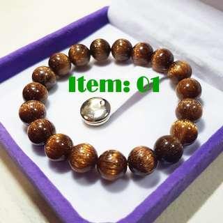 铜发 貔貅 硬金 Copper Rutilated Crystal Beads Bracelet Pixiu Pure Gold 999