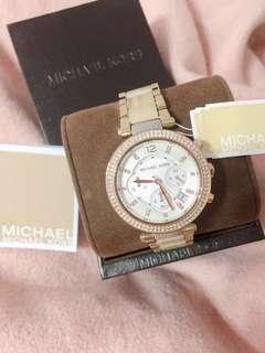 🇺🇸美國MICHAEL KORS簡約奢華百搭水鑽三眼美錶