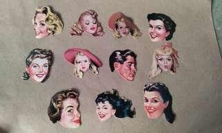 11pcs. Retro Face Stickers Set A
