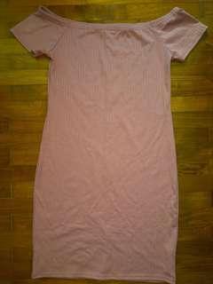 Factorie Pink Off Shoulder Dress Basic