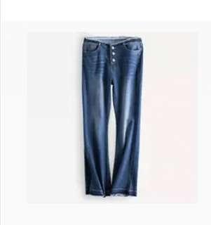 外單新品復古毛邊水洗做舊九分喇叭褲牛仔褲
