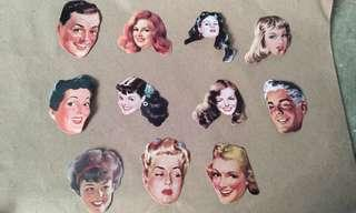 11pcs. Retro Face Stickers Set B
