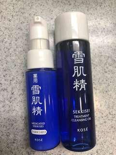 Kose 雪肌精 cleansing oil and lotion