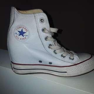 White Leather Converse Wedge Sneakerd