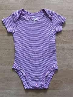 Carter's 6 months purple and white stripes onesie used once