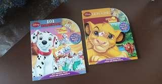 🚚 Disney Read Along story book with CD- 101 Dalmatians & Lion King