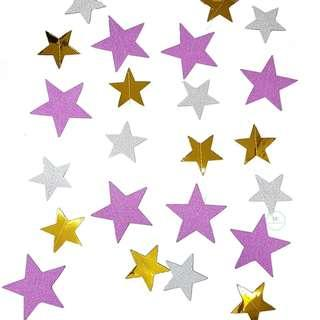 Star shapes garland banner Glitter Pink decoration