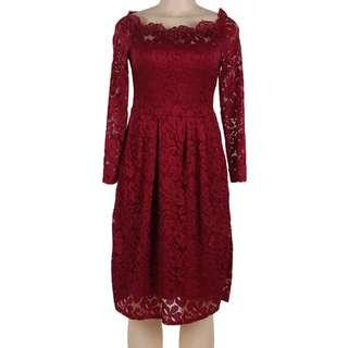 CELLY(M-5XL)Plus Size Dark Red Lace Long Sleeve Off Shoulder Dress(CSOH R80500-3P)