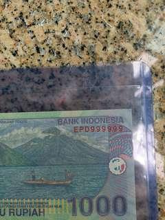 全9號 印尼1000盾全新